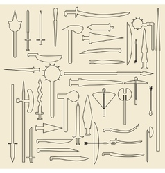 Medieval weaponry linear icons vector