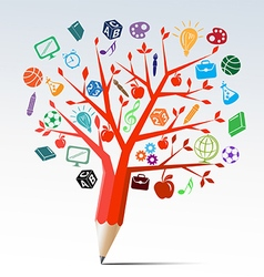 Red apple tree pencil with education symbols vector