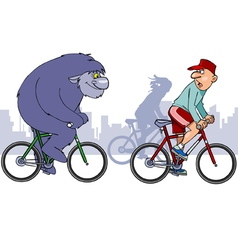 Beast overtakes a cyclist on a bike vector