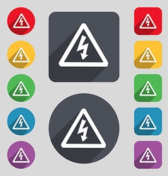 Voltage icon sign a set of 12 colored buttons and vector