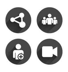 Group of people and share icons video camera vector
