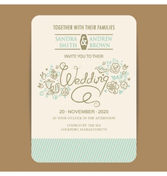 Wedding invitation with hand drown flowers vector