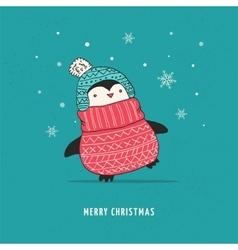 Cute happy penguin - Merry Christmas greetings vector image