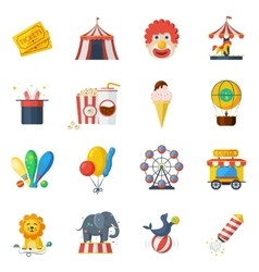 Circus icons flat set vector