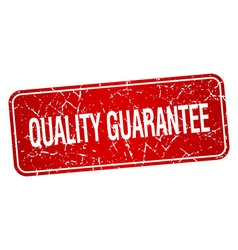 Quality guarantee red square grunge textured vector
