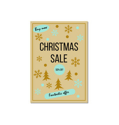christmas sale poster design template vector image