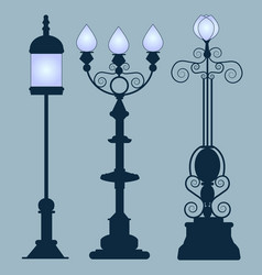 Collection street lamps art nouveau style vector