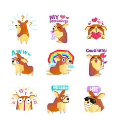 Corgi dog cartoon message icons collection vector