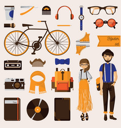 Couple of hipster young girl and beard man with vector