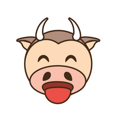 Cute cow face kawaii style vector