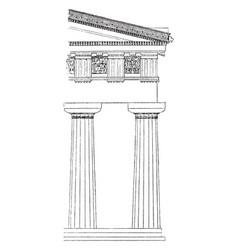 Doric order temple vintage engraving vector