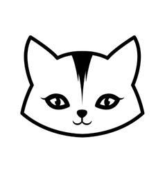 face cat animal domestic furry outline vector image