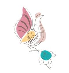 Fantasy dove in russian ornamental style vector