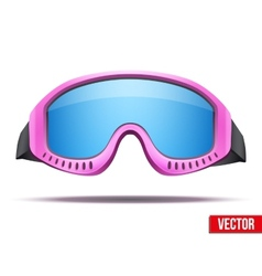 Female pink snowboard ski goggles with colorful vector