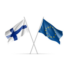Finland and european union waving flags vector