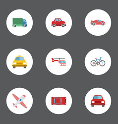 Flat icons bicycle aircraft cab and other vector