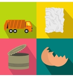 Garbage banners set flat style vector image