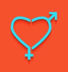Gender signs in heart shape whitish icon vector