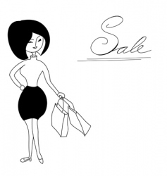 girl with shopping bag vector image