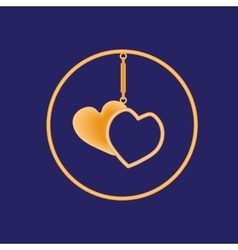 Golden sharmik in the form of two hearts in a vector image vector image