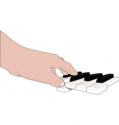 hand and music keyboards vector image