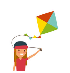 happy girl with kite cheerful playing vector image