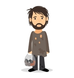 Homeless Shaggy man in dirty rags vector image