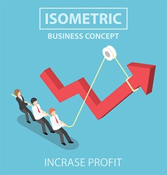 Isometric business people pulling up arrow graph vector