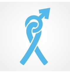 Light blue ribbon and male gender symbol vector image