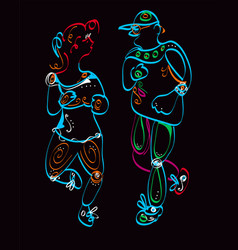 man and woman jogging vector image vector image