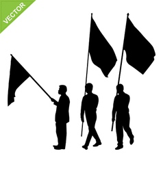Men holding flag silhouettes vector image vector image