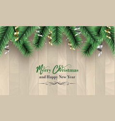 Merry christmas and happy new year banner wooden vector