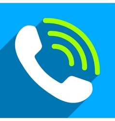 Phone call flat square icon with long shadow vector