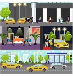 set of taxi service company concept banners vector image vector image