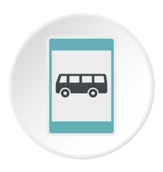 Sign bus stop icon flat style vector