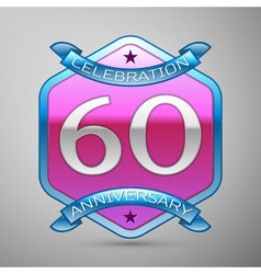 Sixty years anniversary celebration silver logo vector