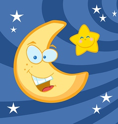 Smiling moon and star cartoon characters vector