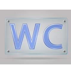 transparent sign toilet on the plate vector image vector image