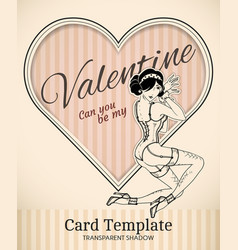 Valentine pin-up woman card template vector