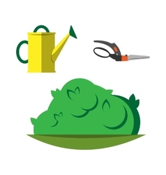 Watering can and garden secateurs isolated vector