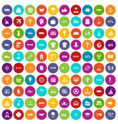100 logistics icons set color vector