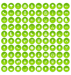 100 spring icons set green circle vector