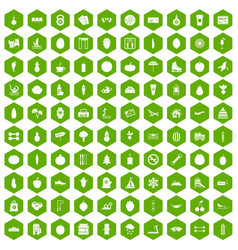 100 wellness icons hexagon green vector
