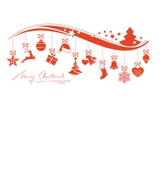 Red wavy border with hanging christmas vector