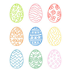 Set of hand drawn easter eggs vector