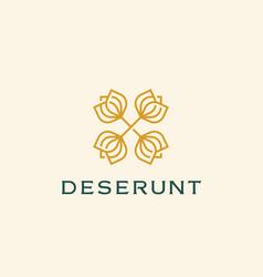 Abstract elegant flower crest logo icon design vector
