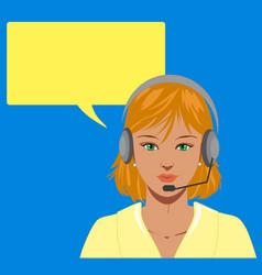 Blond telephone operator vector