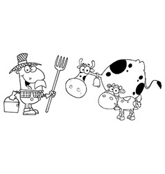 Royalty free rf clipart male farmer calf and cow vector