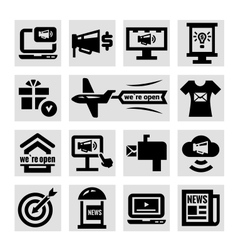 Advertising and marketing icons set vector