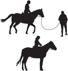 Woman on the horse silhouette vector image